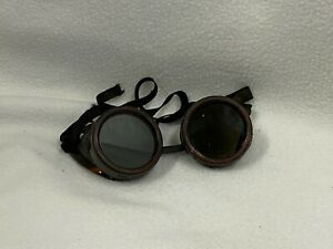 Vintage Cutting Torch Welding Glasses Goggles Tinted Green Glass