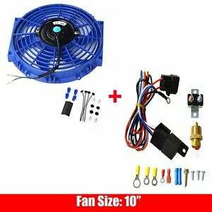 Universal 10 Electric Radiator Cooling Fan Blue W Thermostat Switch Relay Kit