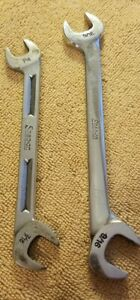 Vintage Snap On Tools Open End Angle Wrench Tool Usa Set Of 2 Vs18 And V5214