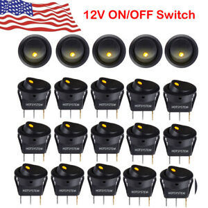 20x Rocker Switches 12v Round Toggle On off 12v Car Snap In Switch Us 2021