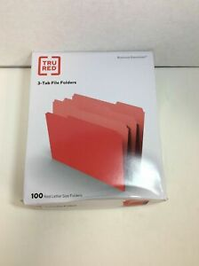 New Tru Red File Folders 1 3 Cut Letter Size Red 100 box