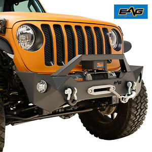 Eag Front Bumper W Fog Light Holes Winch Plate Fit For 18 21 Jeep Wrangler Jl