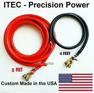 Battery Relocation Kit 2 Awg Cable Top Post 8 Ft Red 4 Ft Black Usa Made
