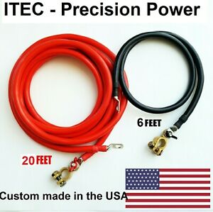 Battery Relocation Kit 2 Awg Cable Top Post 20 Ft Red 6 Ft Black usa Made