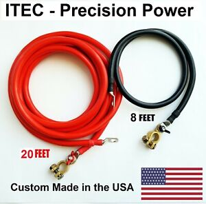 Battery Relocation Kit 2 Awg Cable Top Post 20 Ft Red 8 Ft Black Usa Made