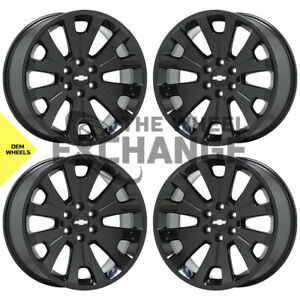 22 Sierra Silverado 1500 Truck Black Wheels Rims Factory Oem Gm Ck161 Set 5663