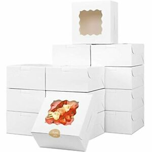 30pcs White Bakery Box With Window 6x6x3in For Small Pie Cookies Cupcakes And
