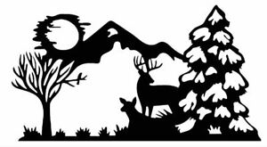 Vinyl Decal Wild Buck Doe Deer Snow Mountain Moon Winter 20 Colors Car Truck 951