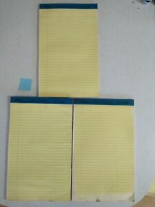 Legal Rule Writing Pads 8 1 2 X 13 Canary Yellow Paper Lot Of 3 Set 2