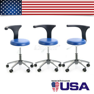 3x Dental Adjustable Mobile Chair Assistant Rolling Stool Pu Leather For Clinic