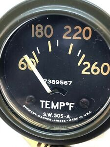 Vintage Military Willys Jeep Temperature Temp Gauge 505 A