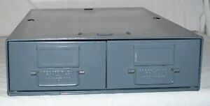 Vintage Record Files Inc 2 Drawer Gray Industrial Metal Filing Cabinet 24x16x5