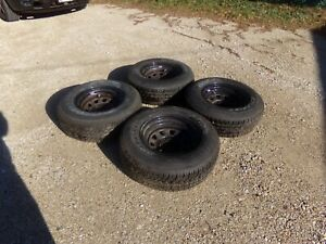 Set Of Four 4 Starfire Sf510 235 75r15 Tires Mounted On Steel Wheels Good Cond