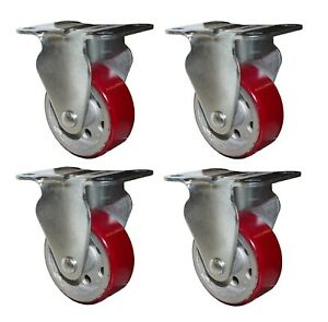 4 pc 3 Inch Heavy Duty Red Rubber Stationed Industrial Caster