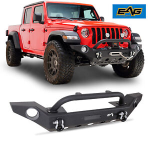 Eag Heavy Duty Front Bumper With Fog Light Hole Fit For 20 21 Jeep Gladiator Jt