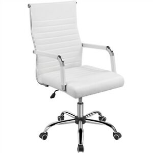 High back Pu Leather Ribbed Office Chair Adjustable Swivel Desk Task Chair White