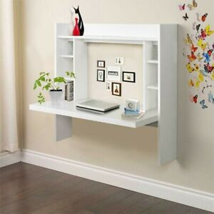 Wall Mount Computer Desk Floating Table W Storage Shelves Home Office Furniture