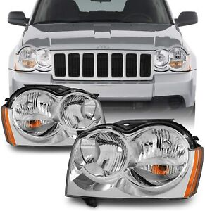 For 05 07 Jeep Grand Cherokee Chrome Headlights Headlamps Replacement Rh lh Pair
