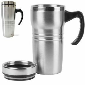 16OZ TUMBLER STEEL STAINLESS COFFEE CUP Travel Double Insulated Lid Cap Handle $10.99