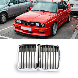 Front Hood Kidney Grille Grill Center Chrom Black For Bmw E30 M3 3 Serie 1982 91