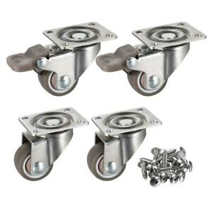 4 Pack 1 Low Profile Casters Wheels Soft Rubber Swivel Caster 360 Degree Top