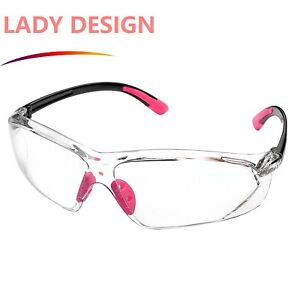 Safeyear Pink Safety Glasses Anti Fog Lens Side Shield Girl Woman W Cord New