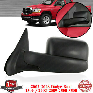 Left Side Towing Mirror Textured For 2002 2008 Dodge Ram 1500 03 09 2500 3500