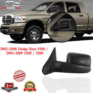 Left Side Towing Mirror Textured For 02 08 Dodge Ram 1500 2003 2009 2500 3500