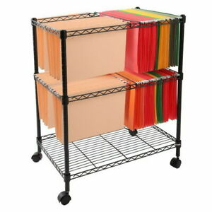 Two Tier Metal Rolling Mobile File Cart For Letter legal Size Office Supplies