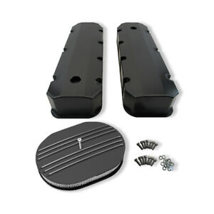 For Bbc 396 454 Tall Valve Covers Black 12 X 2 Oval Half Finned Air Cleaner