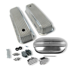 For 65 95 Bbc Tall Valve Covers 15 Oval Half Finned Air Cleaner Breather