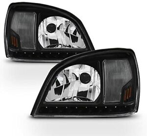 For 2000 2005 Cadillac Deville Black Strip Led Headlights Headlamps Right left