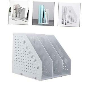 Collapsible Magazine File Holder desk 3 Compartments Gray collapsible