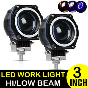2x 3 Inch Blue Halo Led Spot Work Light Bar Pods Off Road 4wd Driving Fog Lamps
