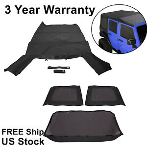 Black Soft Top Tint Windows 2007 2009 For Jeep Wrangler Unlimited 4 Door