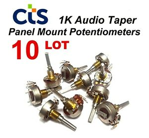 10 lot Vintage Cts 1k Audio Taper Potentiometer Closeout Sale Nos Usa Ship