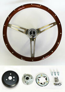 1965 1969 Mustang Wood Steering Wheel High Gloss Finish Cobra Cap 15 W Rivets