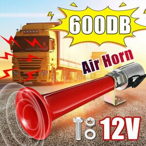 12 24v 600db Super Loud Air Horn Single Trumpet Van Train Car Truck Boat Speaker