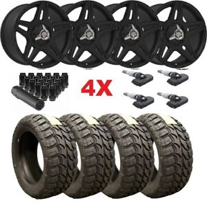 18 Black Wheels Rims Tires 33 12 50 18 Mt Mud Off 5x135 33 12 50 18