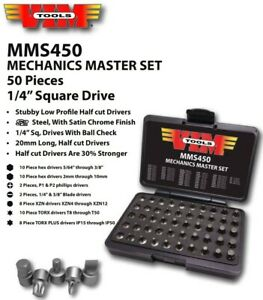Vim 50pc 1 4 Dr Mechanics Master Stubby Low Profile Bit Driver Socket Set Mms450