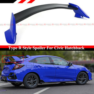 For 16 21 Civic Fk4 Fk7 5dr Hatchback 2 Tone Blue Blk Type R Style Spoiler Wing