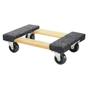 1000 Lb Capacity Mover Furniture Moving Dolly Hardwood 12 x 18 Swivel Casters