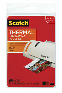 Scotch Thermal Laminating Pouch 4 X 6 Inches 5 Mil Thick Pack Of 20