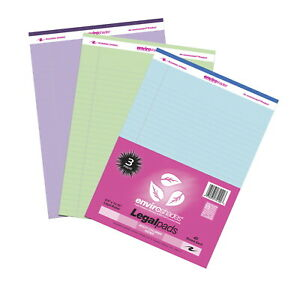 Enviroshades Legal Pads 8 1 2 X 11 Inches Assorted Colors 40 Sheets Pack Of