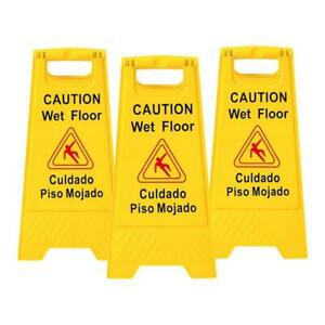 3x Wet Floor Warning Sign Safety Caution Bilingualism Sign Board 2 Sides Display