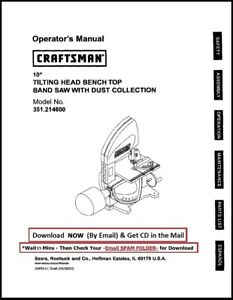 Craftsman 10 Inch Head Bench Top Band Saw Owners Operators Manual 351 214600
