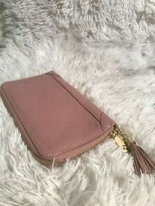 Pink With Fold Trim And Tassel Business Card Holder