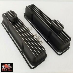 Small Block Chevy Tall Black Finned Aluminum Valve Covers 305 307 327 350 400