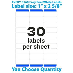 Avery Easy Peel Laser Address Labels 1 X 2 5 8 5160 You Choose Quantity