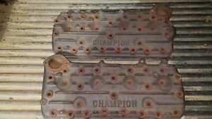 Champion Cast Iron Ford Mercury Flathead Finned Cylinder Heads Matching Pair